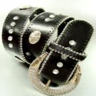 Black Crystal Studs Buckle Belt