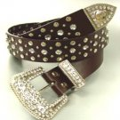 Brown Crystals Studs Buckle Belt