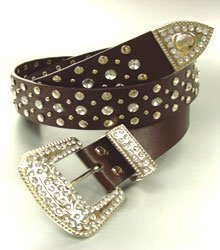 Brown Crystals Studs Buckle Belt