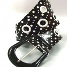 Black White Polka Dots Patent Belt