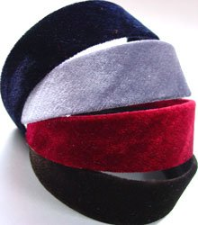 Dozen Assorted Color Velvet Head Bands