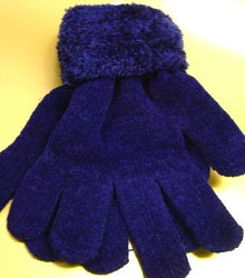 Navy Blue Chenille Fashion Glove