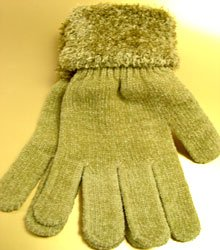 Khaki Chenille Fashion Glove