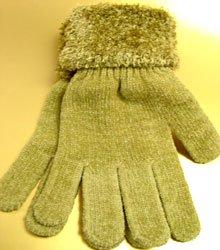 Khaki Chenille Fashion Glove