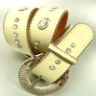 Creme Crystals Studs Buckle Belt