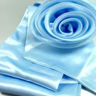 Blue Satin Scarf Belt Flower Brooch Wrap