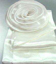 White Satin Scarf Belt Flower Brooch Wrap