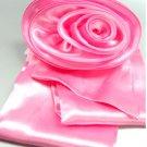 Pink Satin Scarf Belt Flower Brooch Wrap