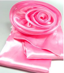 Pink Satin Scarf Belt Flower Brooch Wrap