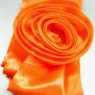 Orange Satin Scarf Belt Flower Wrap