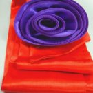 Red Satin Scarf Belt Purple Flower Wrap