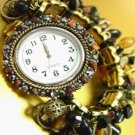 Black Stones Crystals Gold Watch