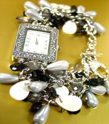Black Pearls Beads Shells Cha Cha Watch