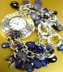 Blue Lucite Crystals Cha Cha Watch
