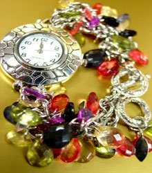 Multi Lucite Crystals Cha Cha Watch