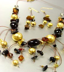 Black Murano Glass Beads Necklace Set
