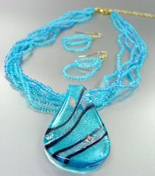 Blue Murano Glass Beads Necklace Set 1N0808594