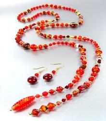 Red Murano Glass Beads Lariat Neck Set 1N2730235