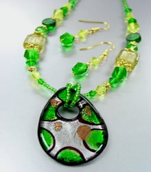 Green Murano Glass Beads Necklace Set  1N2730213