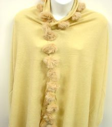 Beige Rabbit Fur Balls Shawl