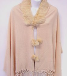 Beige Rabbit Fur Collar Balls Shawl 10sfb5250
