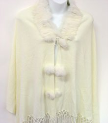 Creme Rabbit Fur Collar Balls Shawl