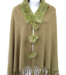 Green Rabbit Fur Collar Balls Shawl