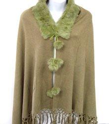 Green Rabbit Fur Collar Balls Shawl