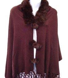 Brown Rabbit Fur Collar Balls Shawl