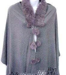 Grey Rabbit Fur Collar Balls Shawl