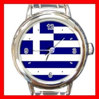 Greek Flag Hobby Italian Charm Wrist Watch 005