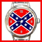 Rebel Confederate Flag Italian Charm Wrist Watch 020