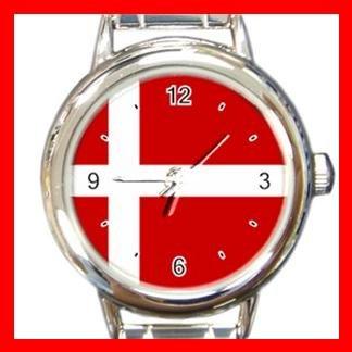 Denmark Danish Flag Italian Charm Wrist Watch 023