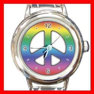 TIE DYE PEACE SIGN Italian Charm Wrist Watch 025