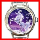 Unicorn Myth In Front of Moon Italian Charm Wrist Watch 068