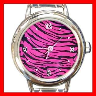Pink Tiger Print Animal Italian Charm Wrist Watch 074