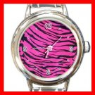 Pink Tiger Print Animal Italian Charm Wrist Watch 074