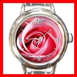 Pink Rose Flower Italian Charm Wrist Watch 075