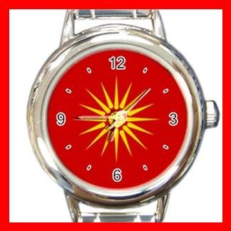 Old Macedonian Flag Italian Charm Wrist Watch 076