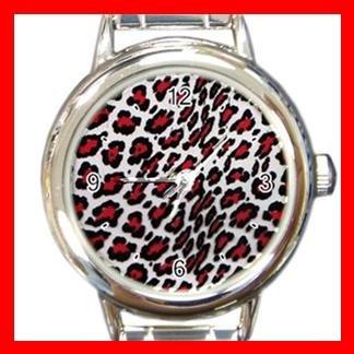 Red Leopard Pattern Italian Charm Wrist Watch 080