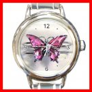 Pink Butterfly Leisure Italian Charm Wrist Watch 090