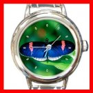 Rare Blue Butterfly Italian Charm Wrist Watch 134