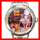 Lovely Pig Chef Round Italian Charm Wrist Watch 146