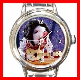 Lovely Pig Singing Round Italian Charm Wrist Watch 148
