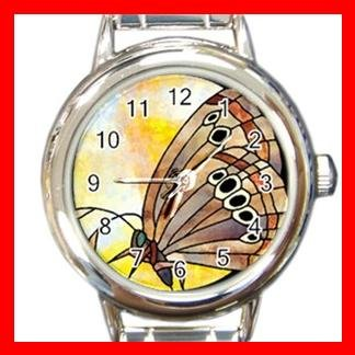 Bufferfly Stained Glass Round Italian Charm Wrist Watch 151