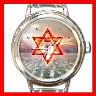 Star of David Round Italian Charm Wrist Watch 152