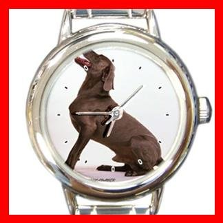 Weimaraner Dog Round Italian Charm Wrist Watch 153