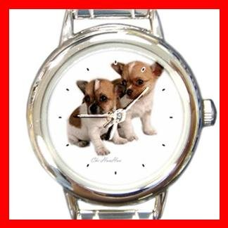Chihuahua Dog Round Italian Charm Wrist Watch 155