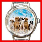 Cute Dogs Blue Sky Round Italian Charm Wrist Watch 157