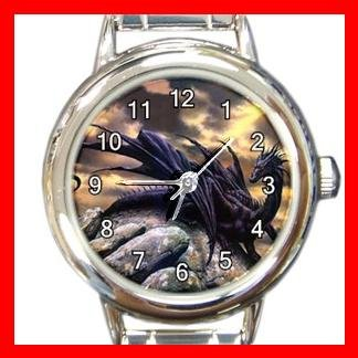 Black Dragon Myth Round Italian Charm Wrist Watch 165